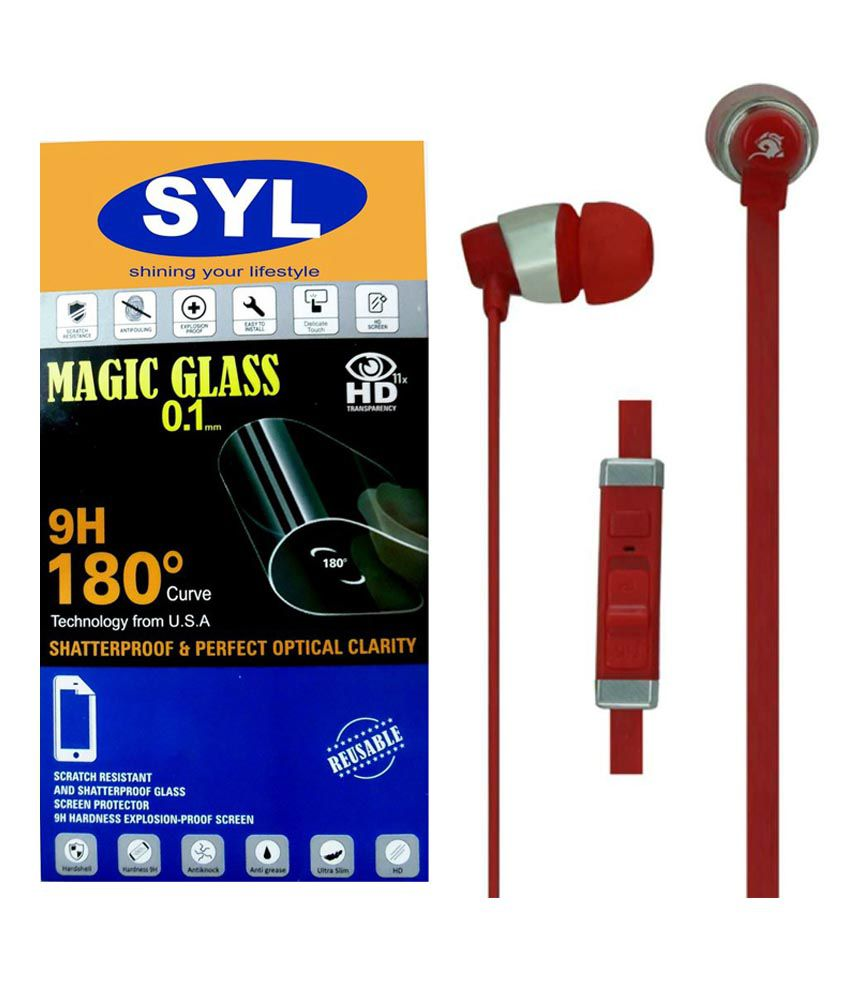 HTC Desire 728 Tempered Glass Screen Guard with Earphones by SYL