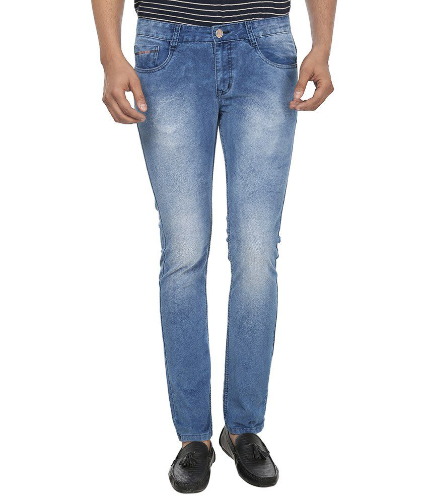 Fever Blue Slim Fit Faded Jeans