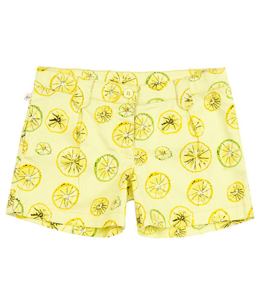 Aristot Yellow Cotton Spandex Shorts for kids girls