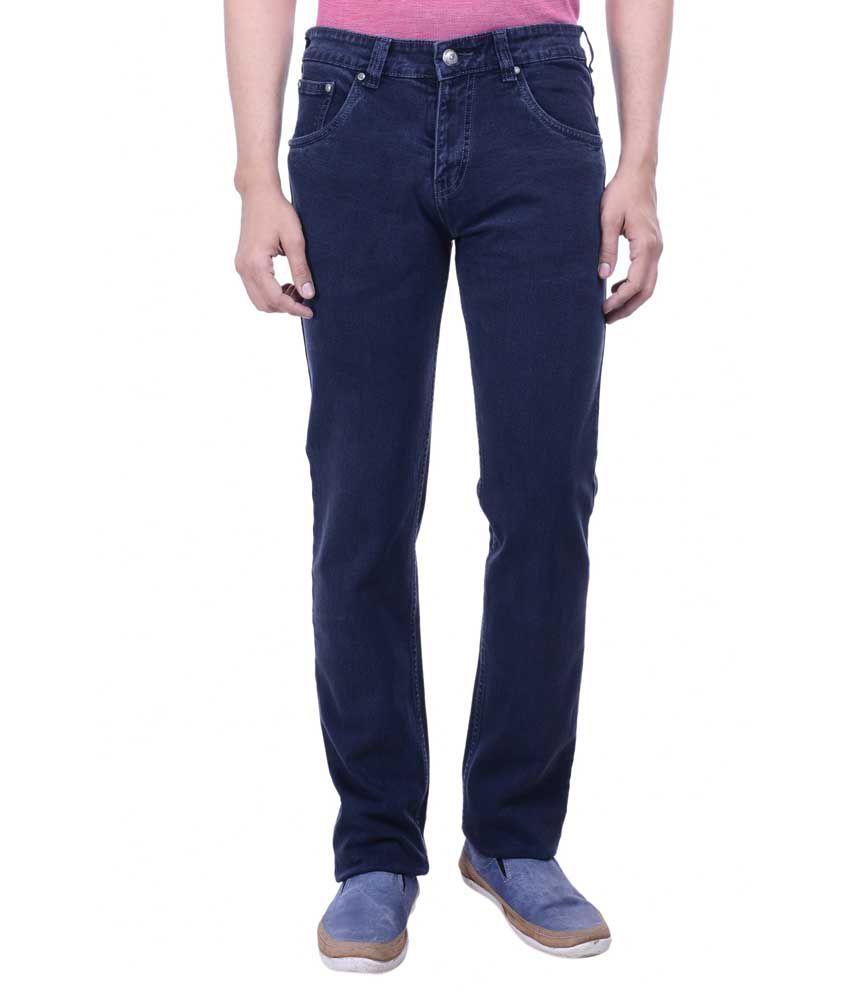 Hoffmen Blue Slim Fit Solid Jeans