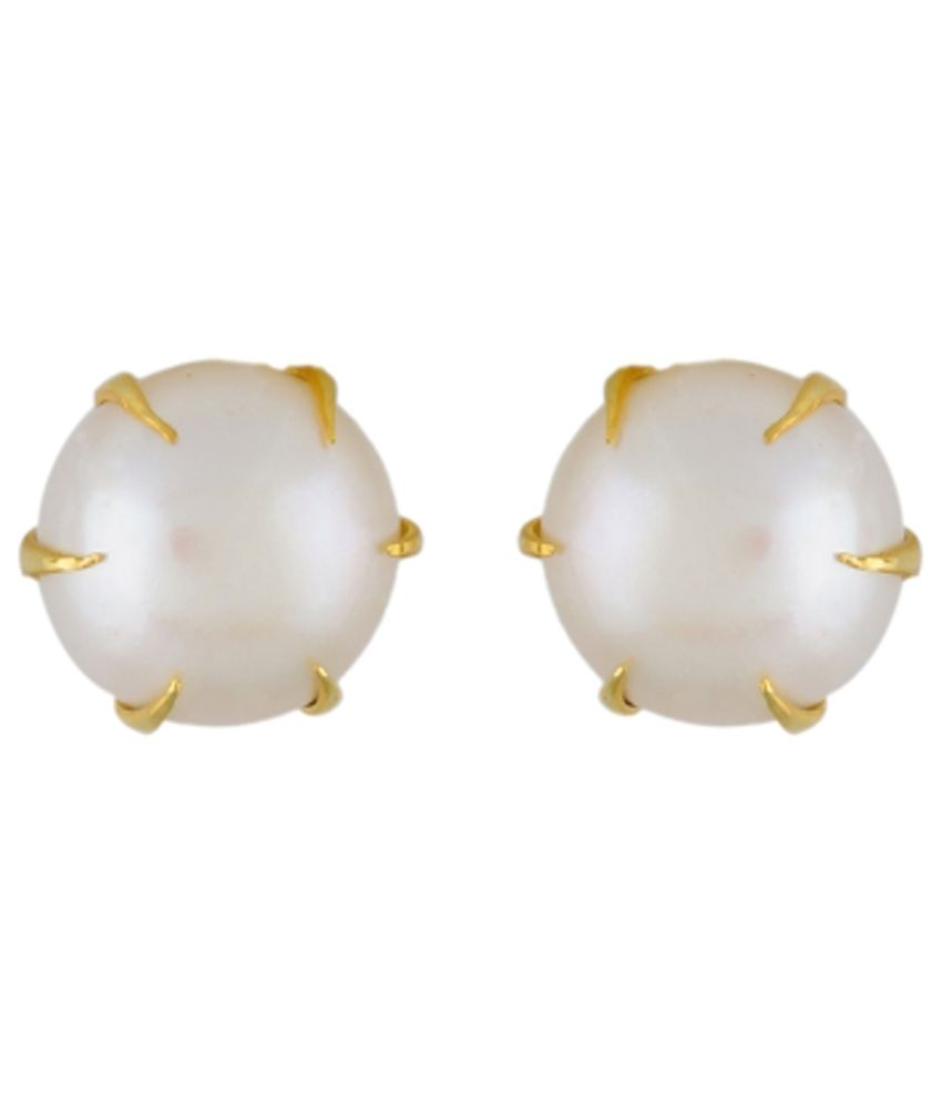 Hyderabad E Pearls White Alloy Pearl Stud Earrings