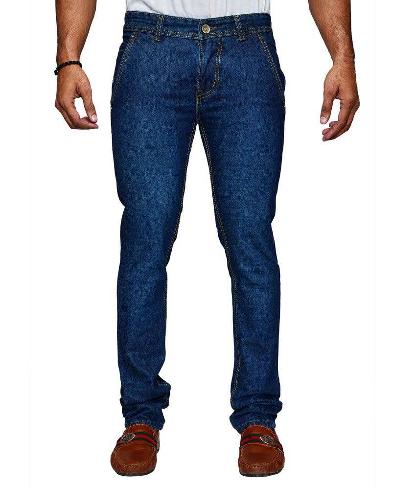 D-rock Blue Regular Fit Solid Jeans