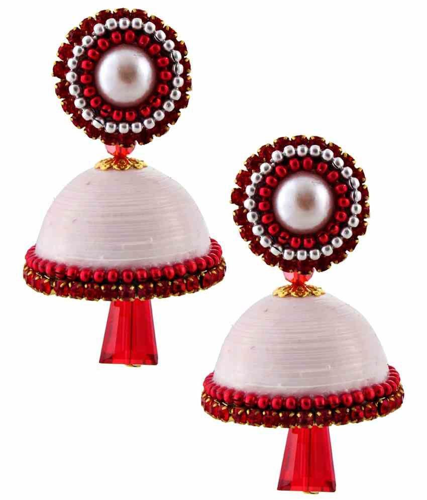 Jaipur Raga White Acrylic Jhumki Earrings