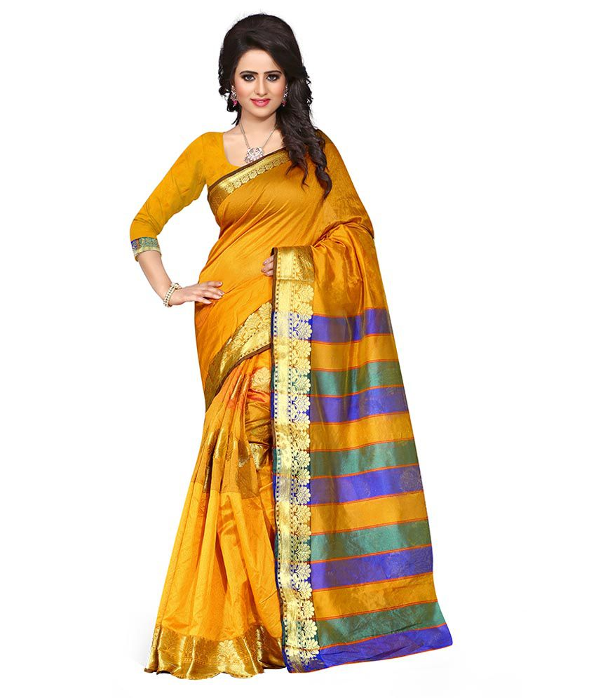 Pari Fashion Yellow Cotton Saree