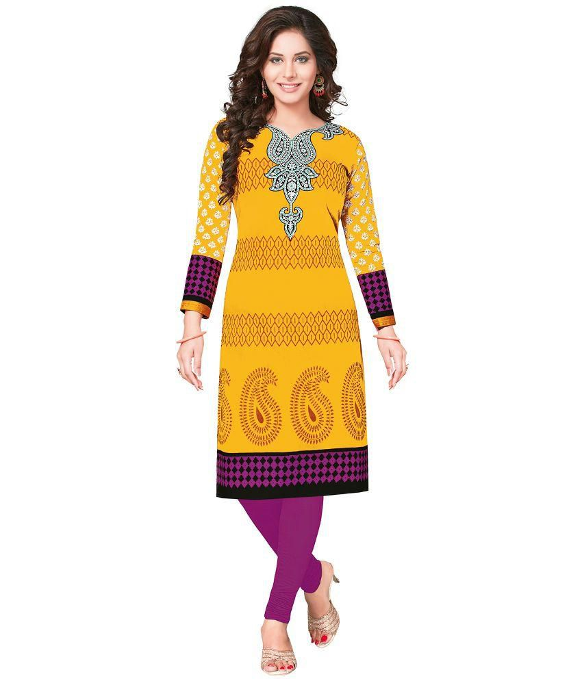 Fashion House Yellow Cotton Straight Unstitched Dress Material