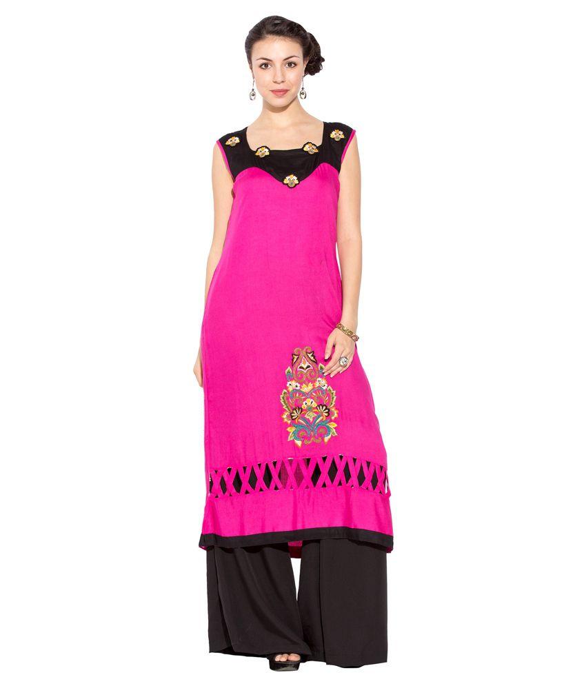 Nikhaar Pink Cotton Straight Kurti