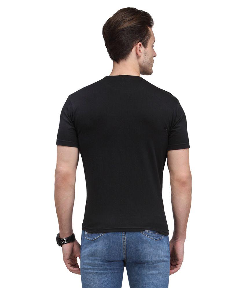 Black t shirt low price -  Scott International Black Cotton Poly Viscose Regular Fit T Shirt