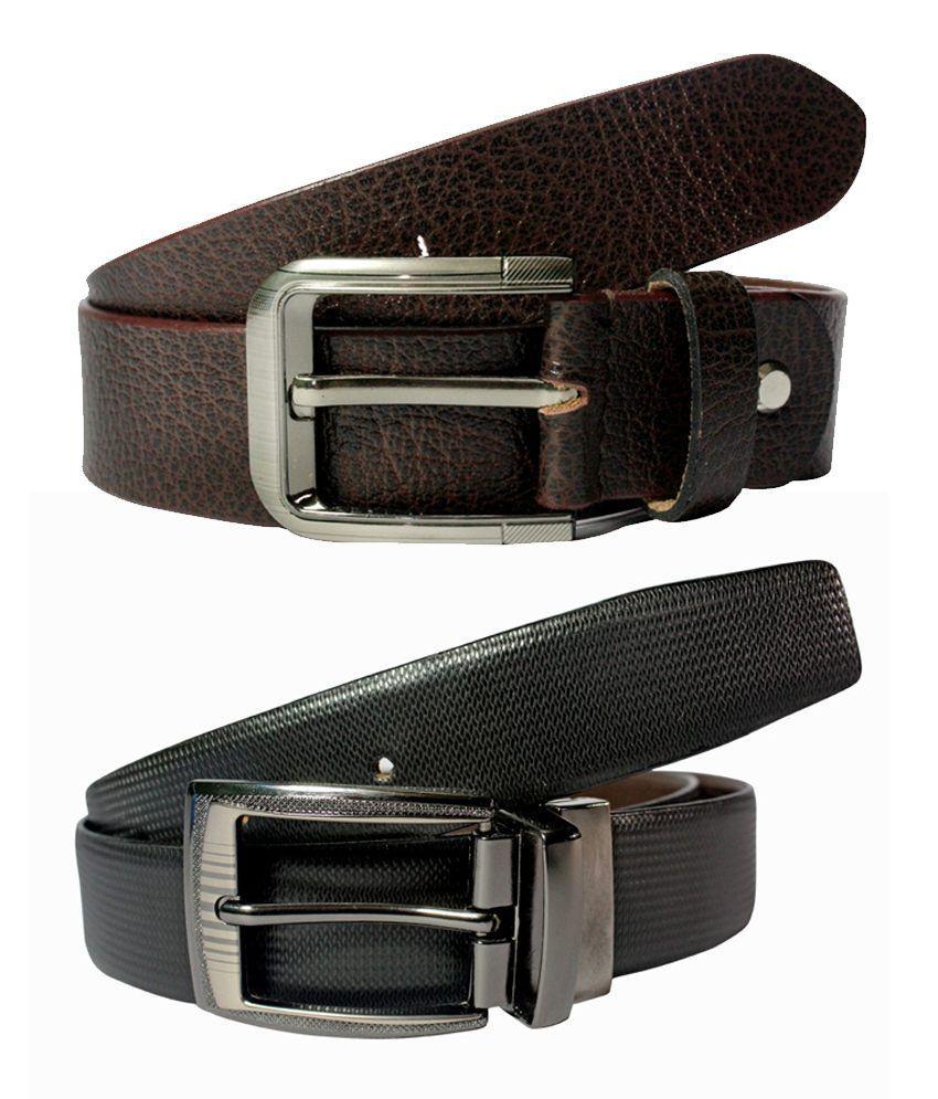 Dywin Black & Brown Leather Formal Belt For Men - Pack Of 2