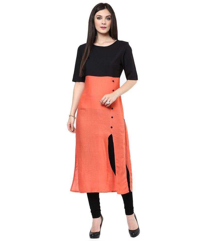 Mohini Fashion Orange Cotton Straight Kurti