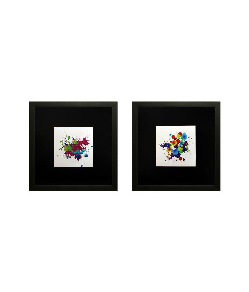 SAF Textured Art Print With Wooden Frame - Set Of 2