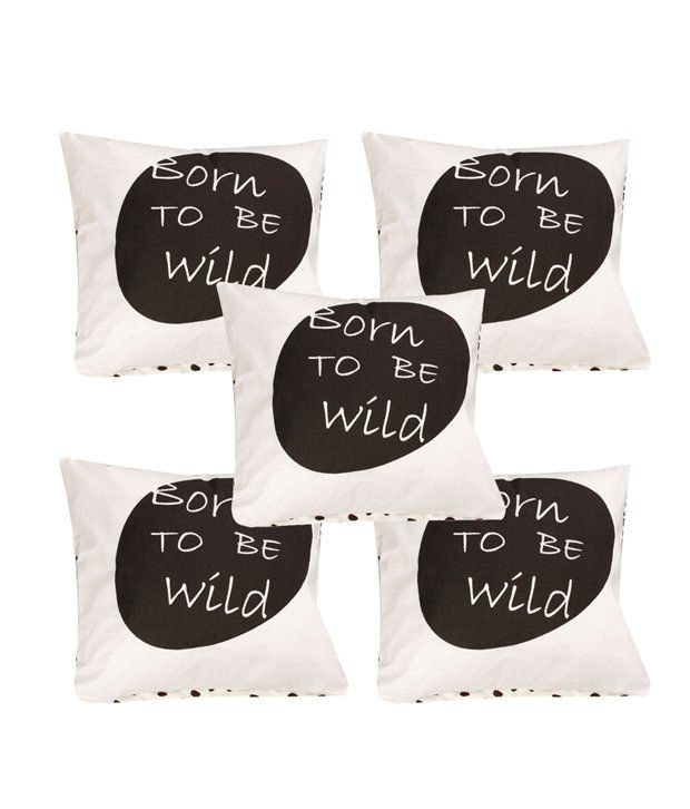 Divine Casa White and Brown Printed Cotton Cushion Cover - Set of 5