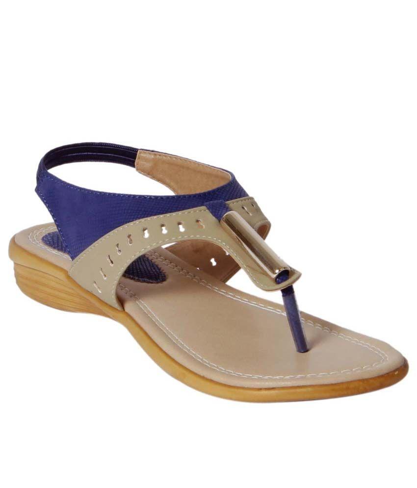 Footshez Blue Wedges Heels