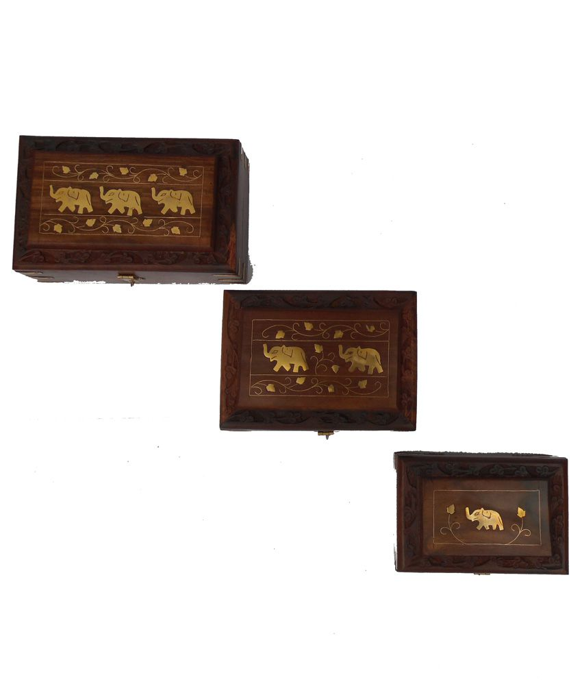 Handicraft Brown Wooden Jewellery Box - Set of 3