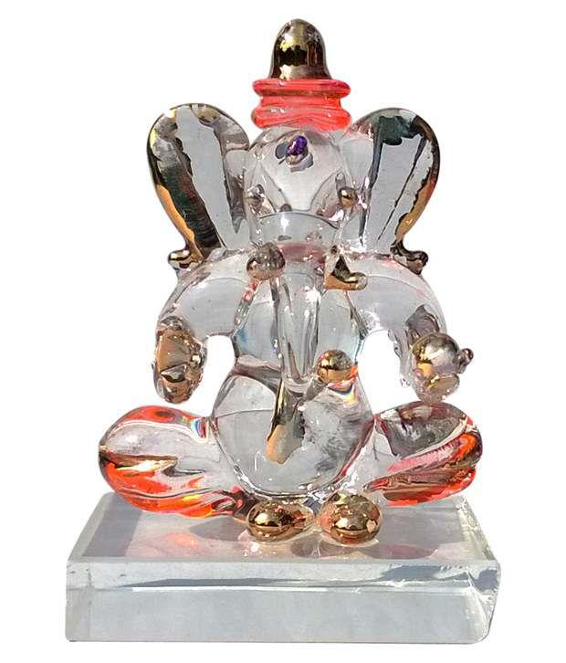 Indian Crafts Home Orange Ganesha Double Face