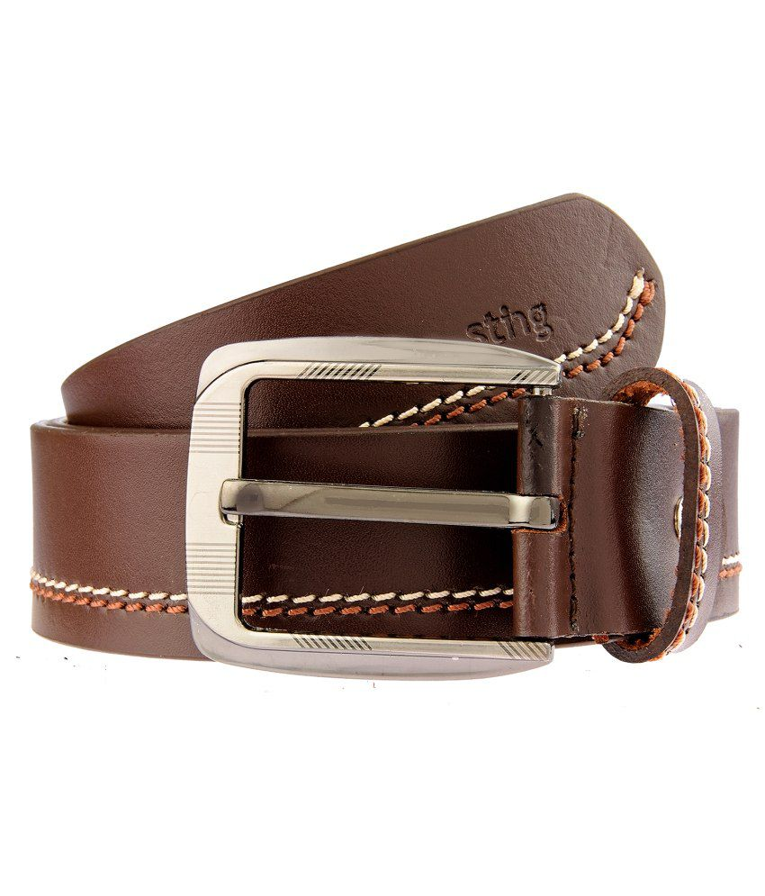 Sting Brown Leather Pin Buckle Belt for Men