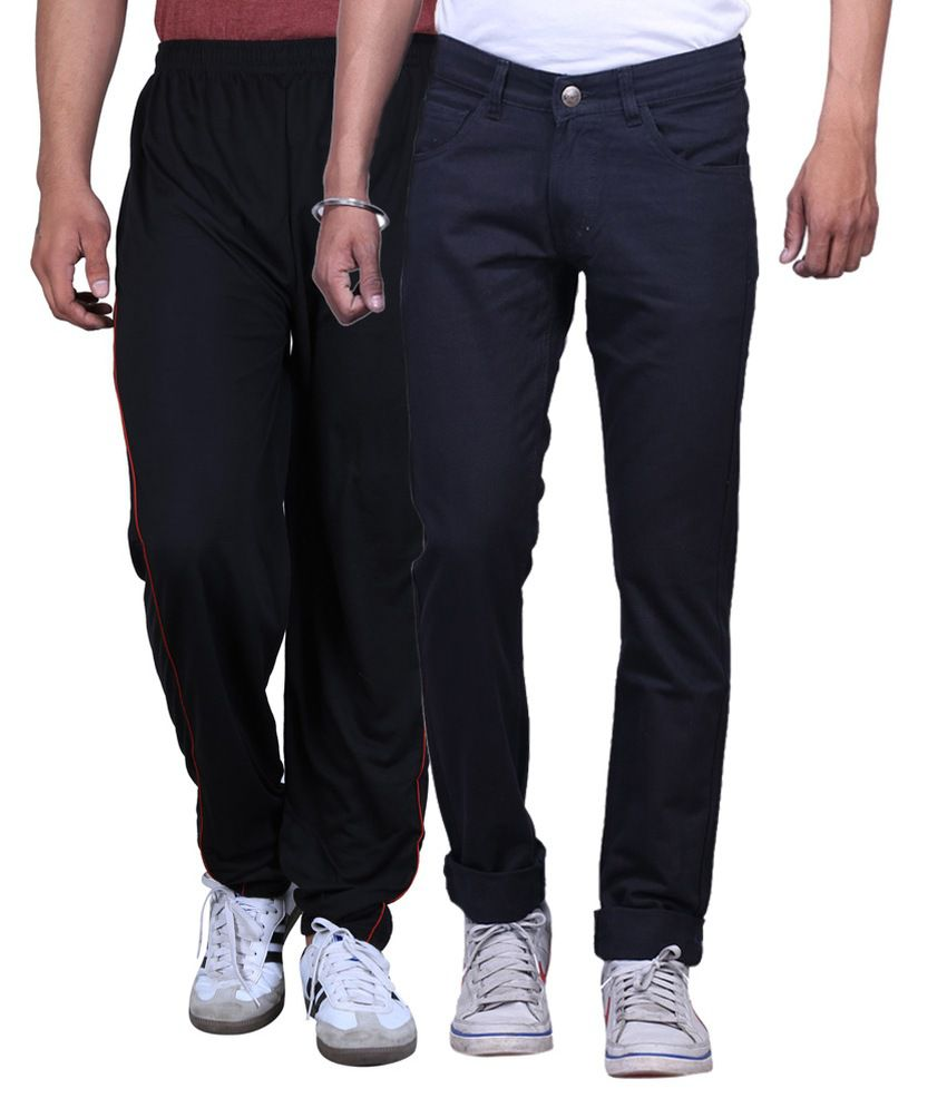 Ansh Fashion Wear Multi Regular Fit Faded Jeans with Track Pant