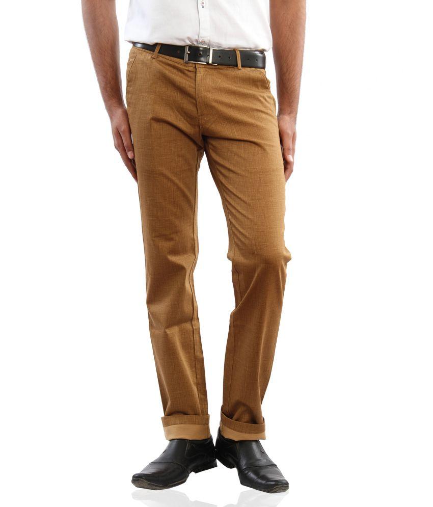 Araat Brown Regular Fit Pleated Trousers