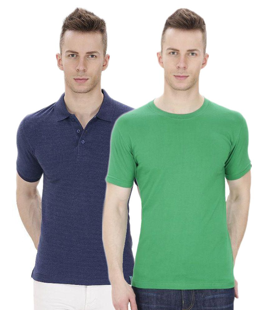 IZOR Multi Round T Shirt Combo Of 2