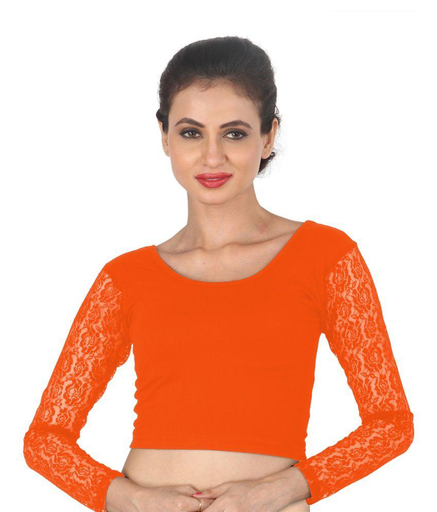 Salwar Studio Orange Cotton Blouses