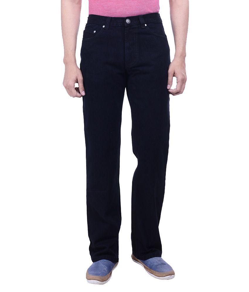 Hoffmen Black Regular Fit Solid Jeans