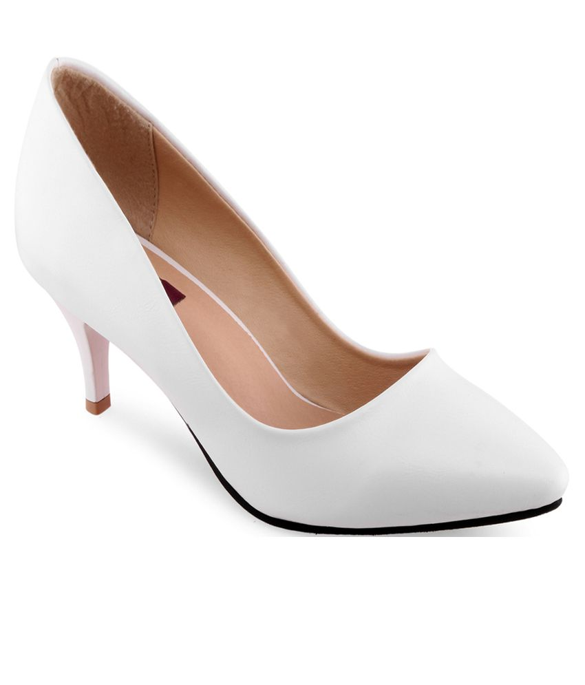968e98ffa9a9 Shuz Touch White Kitten Heels Price in India- Buy Shuz Touch White Kitten  Heels Online at Snapdeal