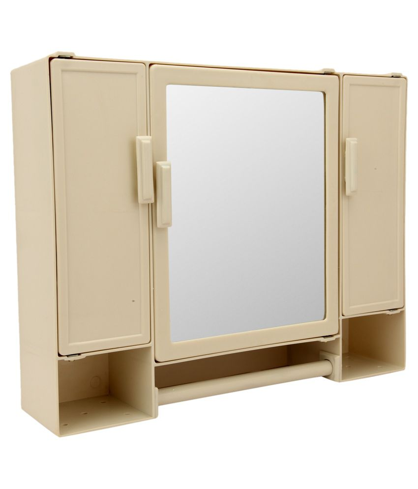 Zahab Plastic Pulse 3 Door Large Storage Bathroom Cabinet With Mirror Shelf And Rod