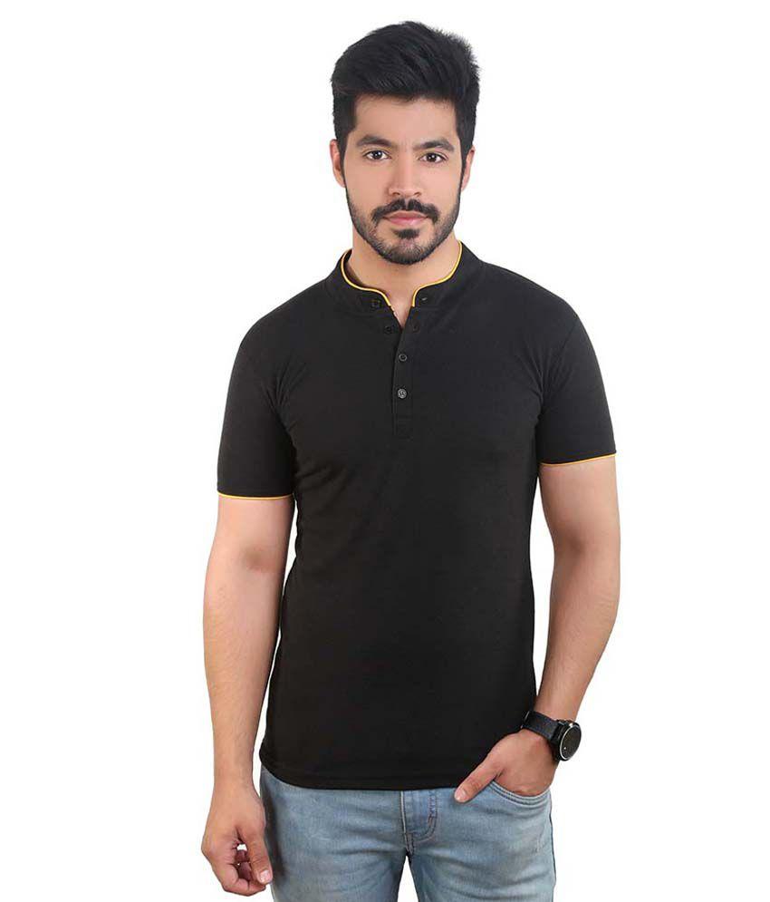 Amusant Black Henley T Shirt