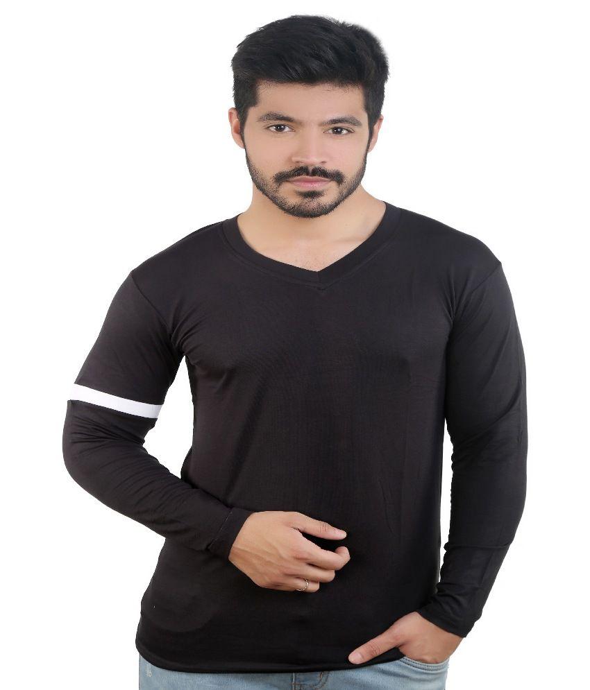 Amusant Fashion Black V Neck T Shirt
