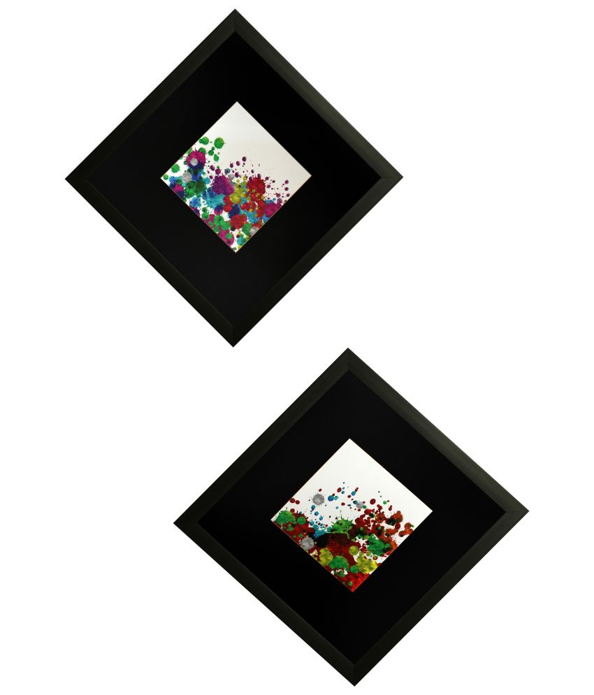 SAF Multicolour Painting with Frame - Set of 2