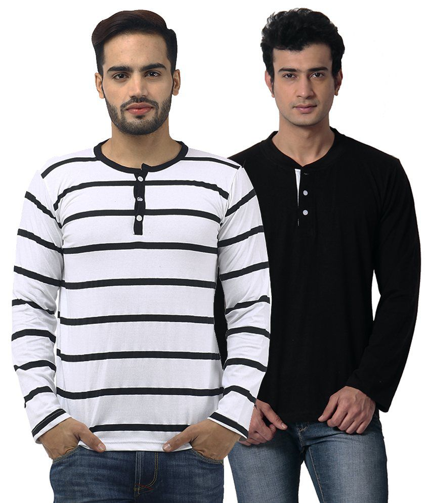 Leana Multi Henley T Shirt Pack of 2