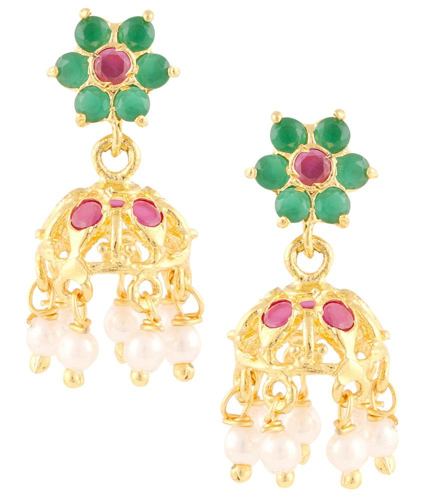 Parijaat Golden Alloy CZ Jhumkis