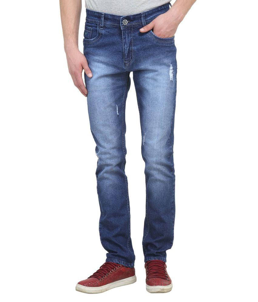 Raux Blue Slim Fit Faded Jeans