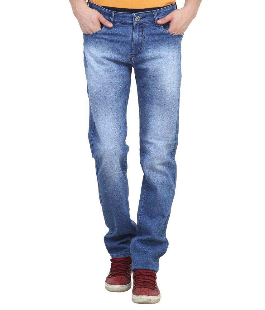 Raux Blue Slim Fit Solid Jeans