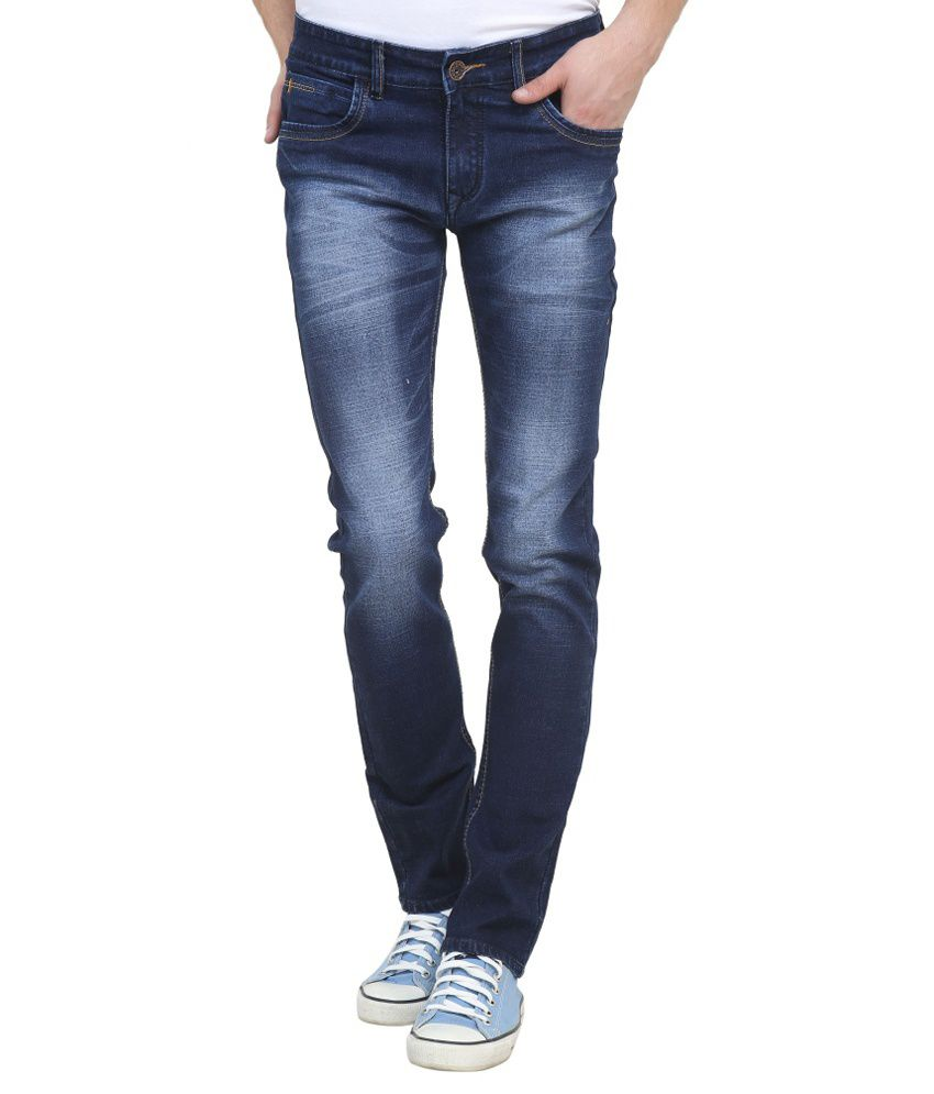 Raux Blue Slim Fit Solid Jeans