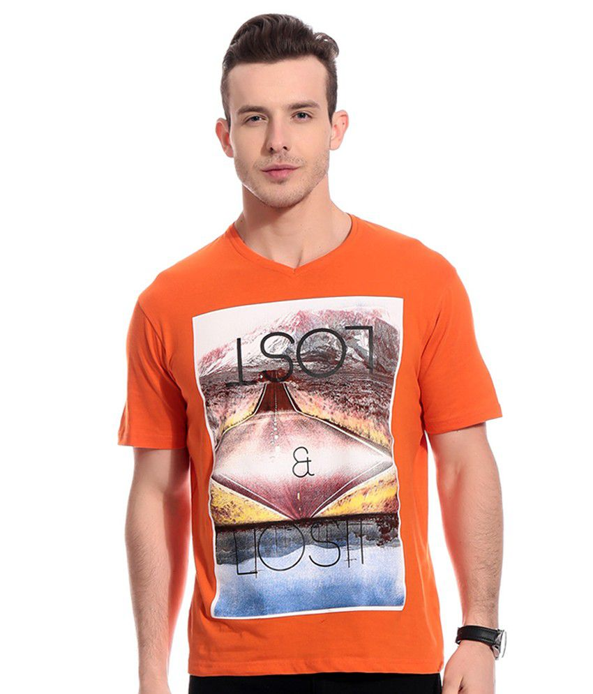 Rose Taylor Orange V-Neck T Shirt Single