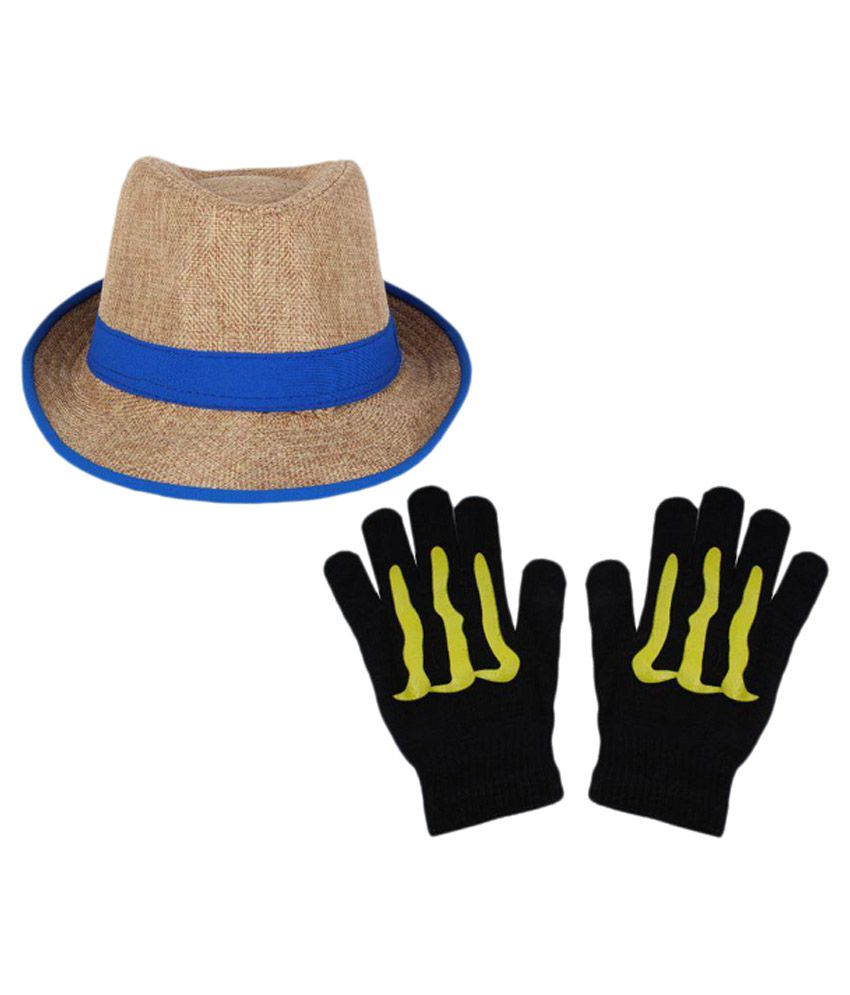 Sushito Beige Polyester Fidora Hat with Hand Gloves