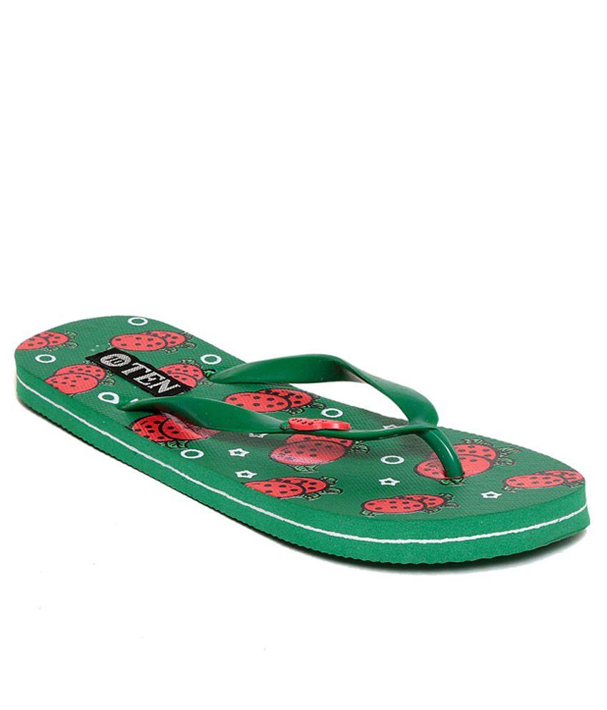 TEN Green Flip Flops