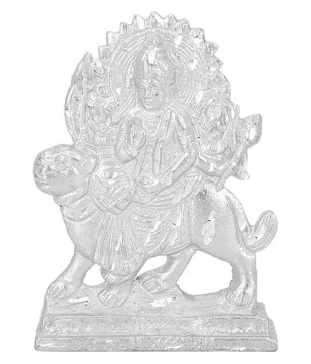 Aaradhi Goddess Durga White Aluminum Idol