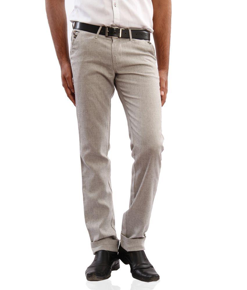 Araat Grey Regular Fit Pleated Trousers