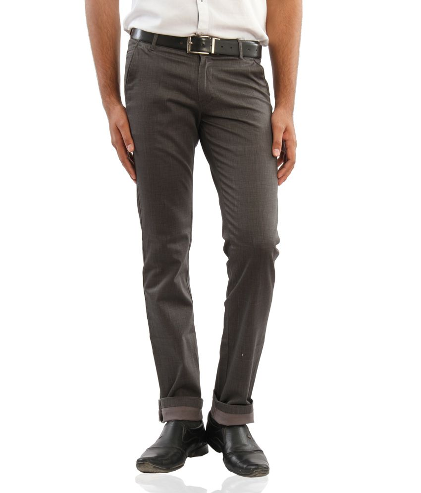 Araat Grey Regular Fit Pleated Trousers
