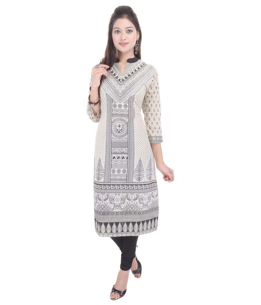 Shopping Rajasthan Grey Cotton Straight Kurti