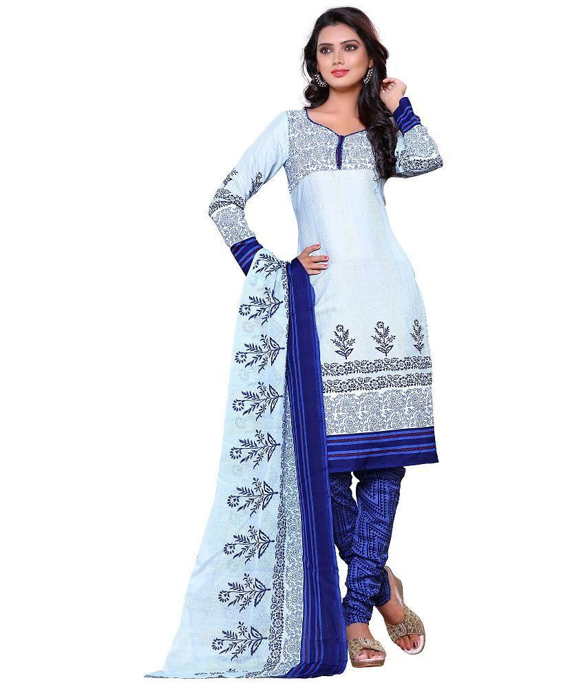 Get Up & Dress Blue Cotton Straight Unstitched Dress Material