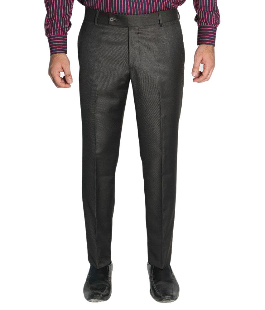Legato Grey Slim Fit Flat Trousers