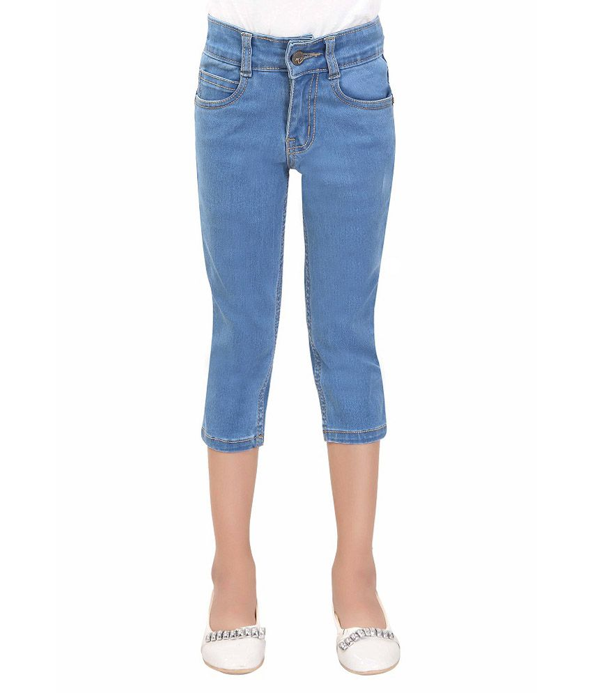 T Three Blue Denim Capris for Girls