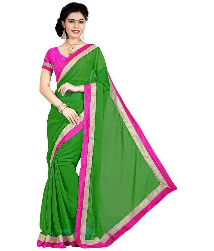 Party Wear Dresses Green Chiffon Saree