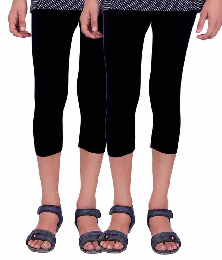 Alisha Black Capri For Girls - Pack Of 2