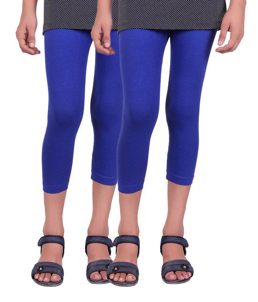 Alisha Blue Cotton Capri - Pack of 2