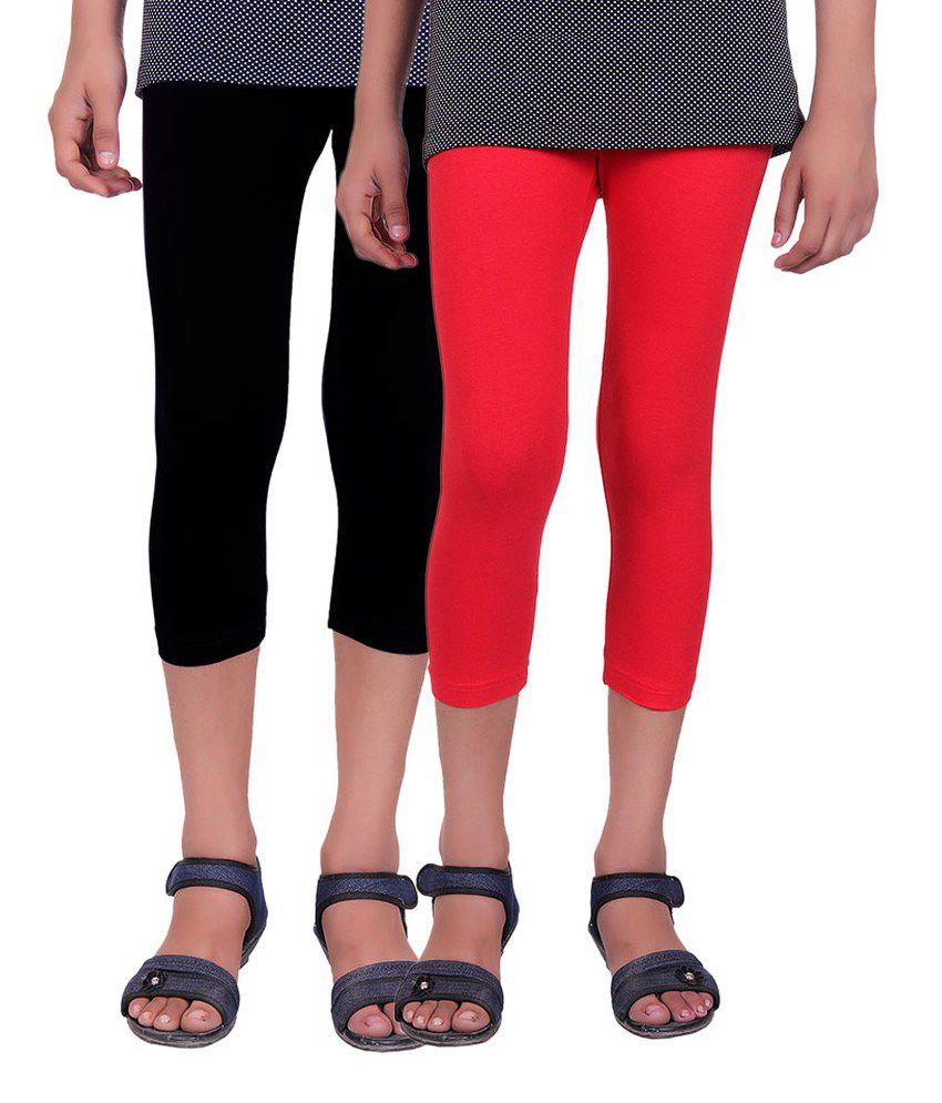 Alisha Multicolour Cotton Capri - Pack of 2