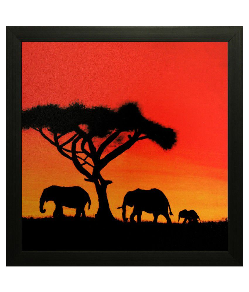 SAF Matte Animal Paintings with Wooden Frame