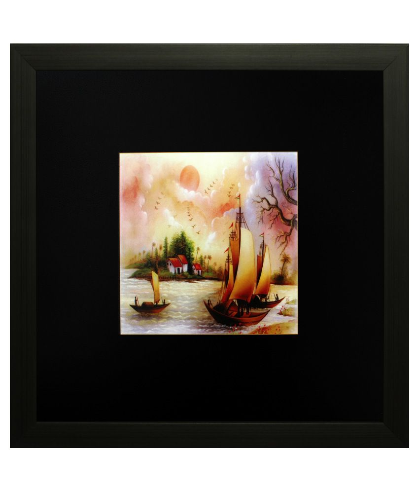 SAF Matte Landscape Paintings with Wooden Frame